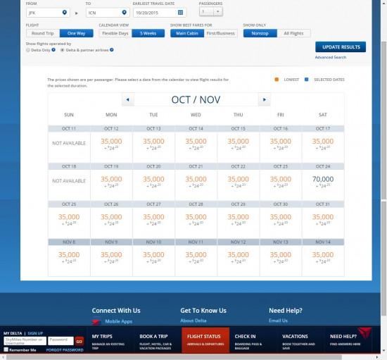 DL-JFK-ICN-calendar-view